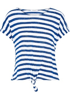 Frame Woman Knotted Striped Linen-jersey T-shirt Blue