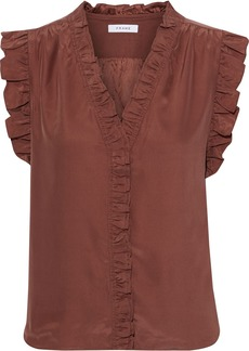 Frame Woman Lauren Ruffle-trimmed Silk Crepe De Chine Top Brown