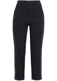 Frame Woman Le Beau Cropped Linen Slim-leg Pants Charcoal