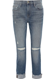 Frame Woman Le Boy Cropped Distressed Mid-rise Slim-leg Jeans Mid Denim