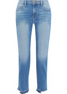 Frame Woman Le Boy Distressed Mid-rise Slim-leg Jeans Mid Denim