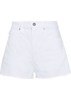 Frame Woman Le Bridgette Frayed Denim Shorts White