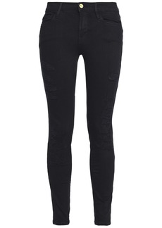 Frame Woman Le Color Ripped Distressed Low-rise Skinny Jeans Black