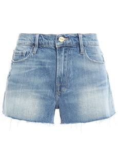 Frame Woman Le Cutoff Distressed Denim Shorts Mid Denim