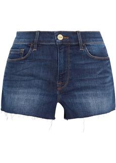 Frame Woman Le Cutoff Frayed Denim Shorts Dark Denim