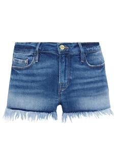 Frame Woman Le Cutoff Frayed Denim Shorts Mid Denim