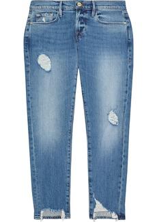 Frame Woman Le Garcon Cropped Distressed Low-rise Slim-leg Jeans Mid Denim