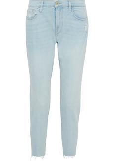 Frame Woman Le Garcon Cropped Distressed Mid-rise Slim-leg Jeans Light Denim