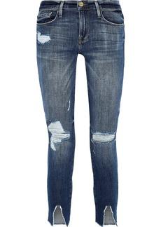 Frame Woman Le Garçon Cropped Distressed Mid-rise Skinny Jeans Mid Denim
