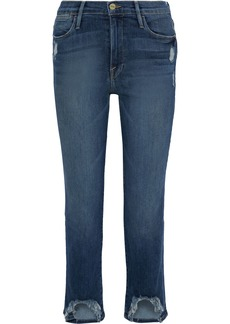 Frame Woman Le High Cropped Distressed High-rise Straight-leg Jeans Mid Denim