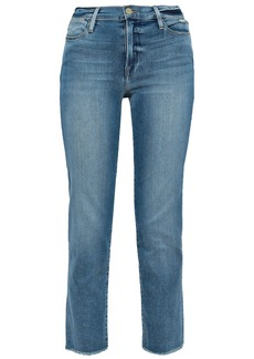 Frame Woman Le High Cropped Faded High-rise Straight-leg Jeans Light Denim