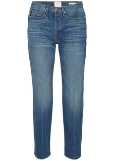 Frame Woman Le High Cropped High-rise Straight-leg Jeans Mid Denim