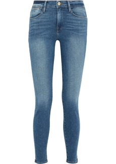 Frame Woman Le High Faded High-rise Skinny Jeans Mid Denim