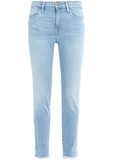 Frame Woman Le High Skinny Cropped Distressed High-rise Skinny Jeans Light Denim