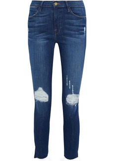 Frame Woman Le High Skinny Cropped Distressed Mid-rise Skinny Jeans Mid Denim