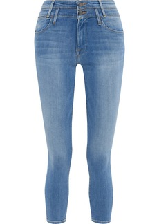 Frame Woman Le High Skinny Cropped High-rise Skinny Jeans Mid Denim