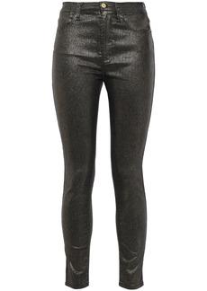 Frame Woman Le High Skinny Cropped Metallic High-rise Skinny Jeans Gunmetal