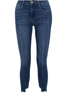 Frame Woman Le High Skinny Cropped Paneled High-rise Skinny Jeans Dark Denim