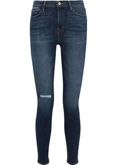 Frame Woman Le High Skinny Distressed High-rise Skinny Jeans Mid Denim