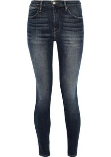 Frame Woman Faded High-rise Skinny Jeans Dark Denim