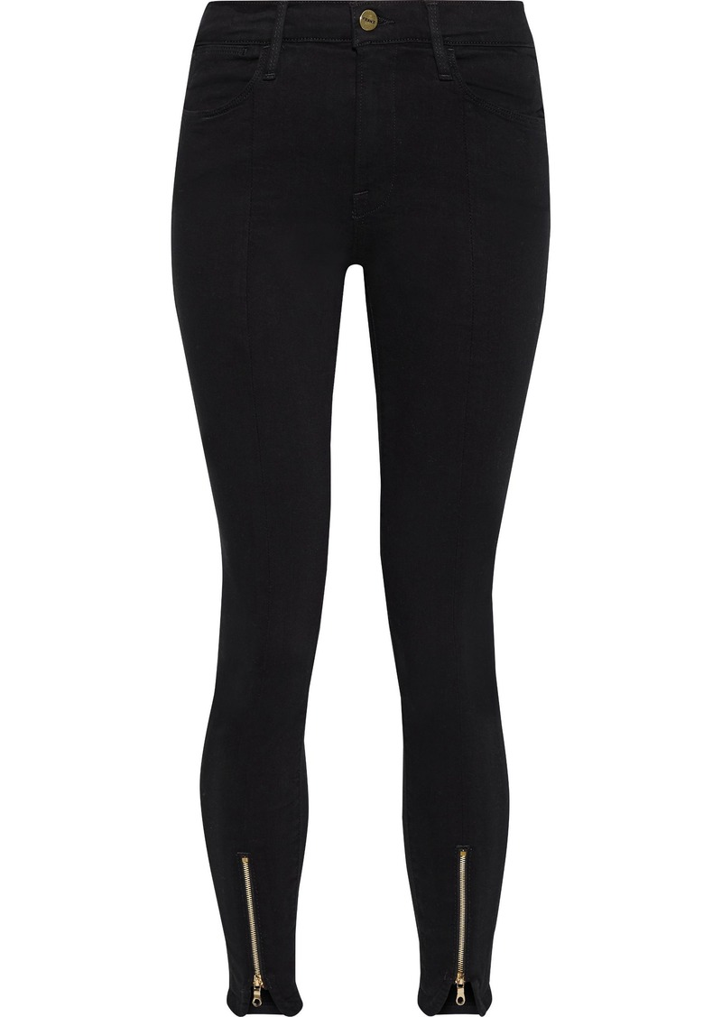 Frame Woman Le High Skinny Zip-detailed Mid-rise Skinny Jeans Black
