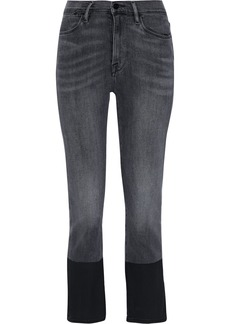 Frame Woman Le High Straight Coated Mid-rise Straight-leg Jeans Dark Gray