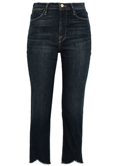 Frame Woman Le High Straight Cropped Frayed High-rise Slim-leg Jeans Dark Denim