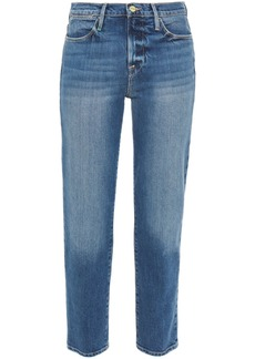 Frame Woman Le High Straight Cropped Mid-rise Straight-leg Jeans Mid Denim