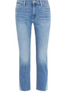 Frame Woman Le High Straight Cropped Paneled High-rise Straight-leg Jeans Light Denim