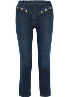 Frame Woman Le High Straight Studded High-rise Straight-leg Jeans Mid Denim