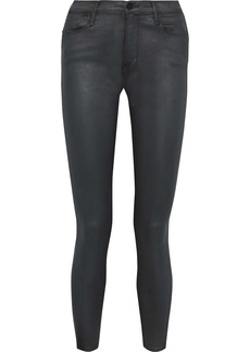 Frame Woman Le Hugh Coated Mid-rise Skinny Jeans Dark Gray