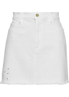 Frame Woman Le Mini Frayed Broderie Anglaise Denim Skirt White