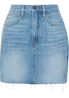 Frame Woman Le Mini Frayed Denim Mini Skirt Mid Denim