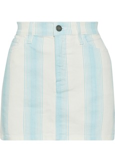 Frame Woman Le Mini Striped Denim Mini Skirt Sky Blue