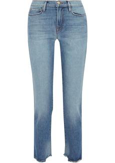 Frame Woman Le Nouveau Cropped Distressed Mid-rise Straight-leg Jeans Light Denim