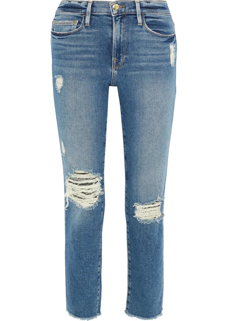 Frame Woman Le Nouveau Cropped Distressed Mid-rise Straight-leg Jeans Mid Denim