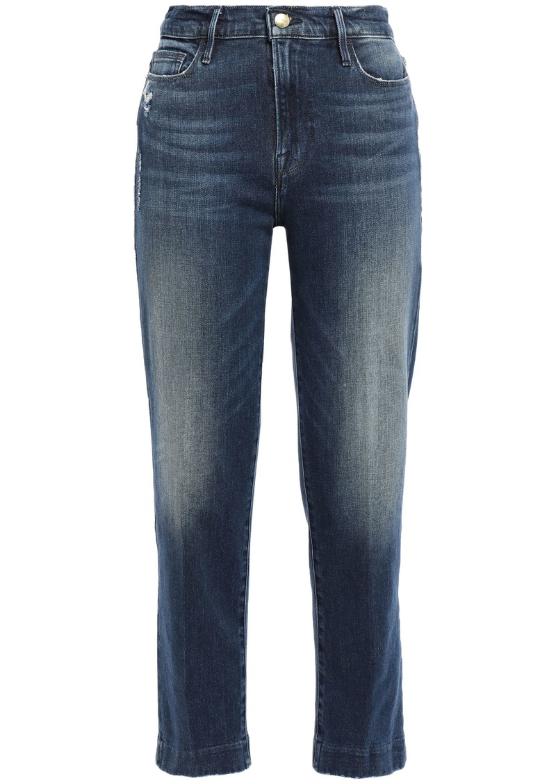 Frame Woman Le Nouveau Straight Cropped Distressed High-rise Straight-leg Jeans Mid Denim