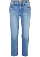 Frame Woman Le Nouveau Straight Cropped Distressed Mid-rise Straight-leg Jeans Light Denim