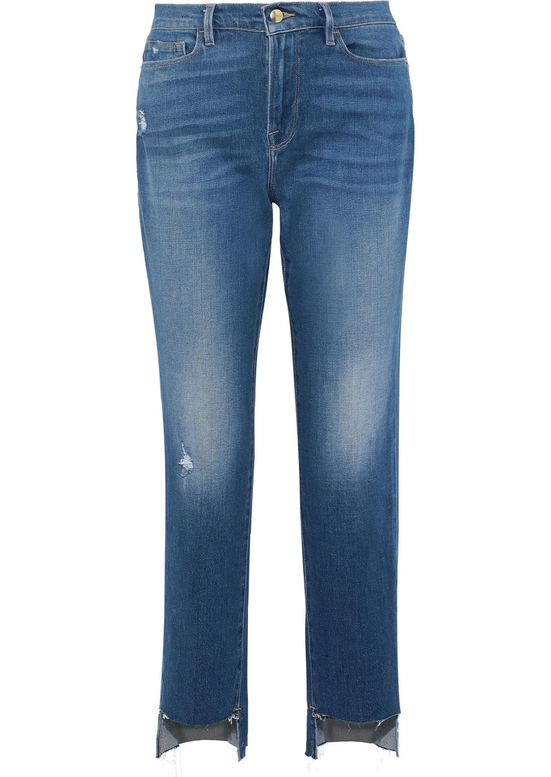 Frame Woman Le Nouveau Straight Distressed High-rise Straight-leg Jeans Mid Denim