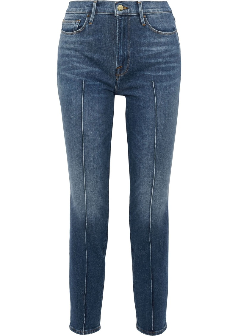 Frame Woman Le Nouveau Straight High-rise Slim-leg Jeans Mid Denim