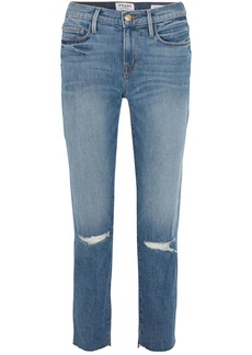 Frame Woman Le Noveau Cropped Distressed Mid-rise Straight-leg Jeans Mid Denim