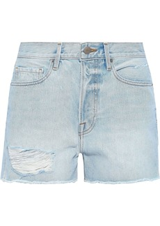 Frame Woman Le Original Distressed Denim Shorts Light Denim