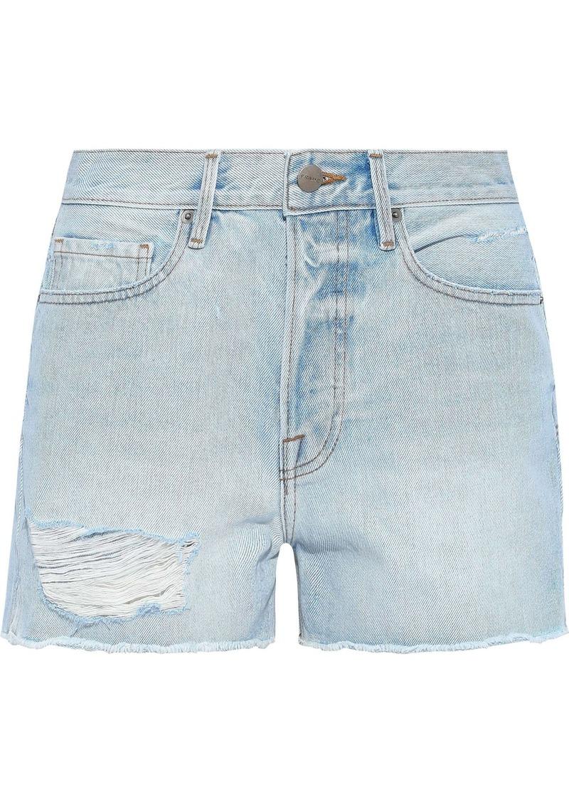 Frame Woman Le Original Distressed Denim Shorts Light Denim
