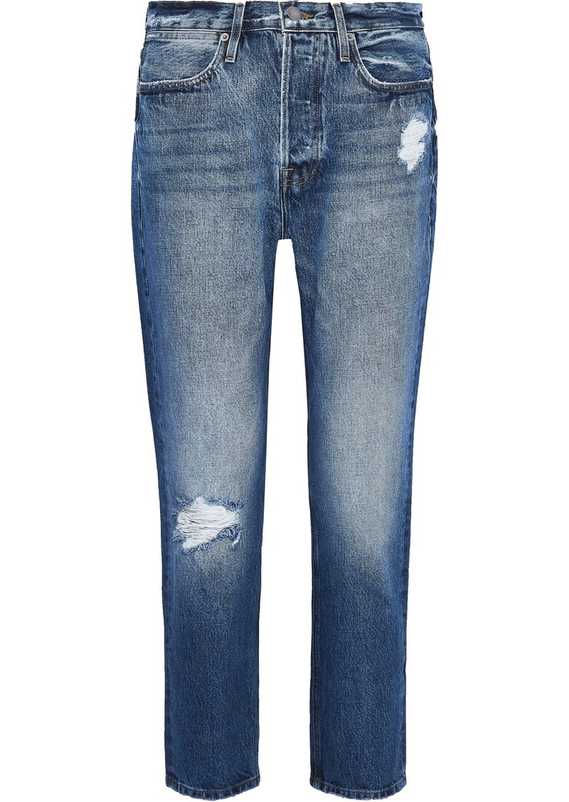 Frame Woman Le Pegged Cropped Distressed High-rise Straight-leg Jeans Dark Denim