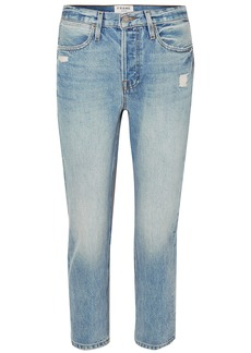 Frame Woman Cropped Distressed High-rise Straight-leg Jeans Light Denim