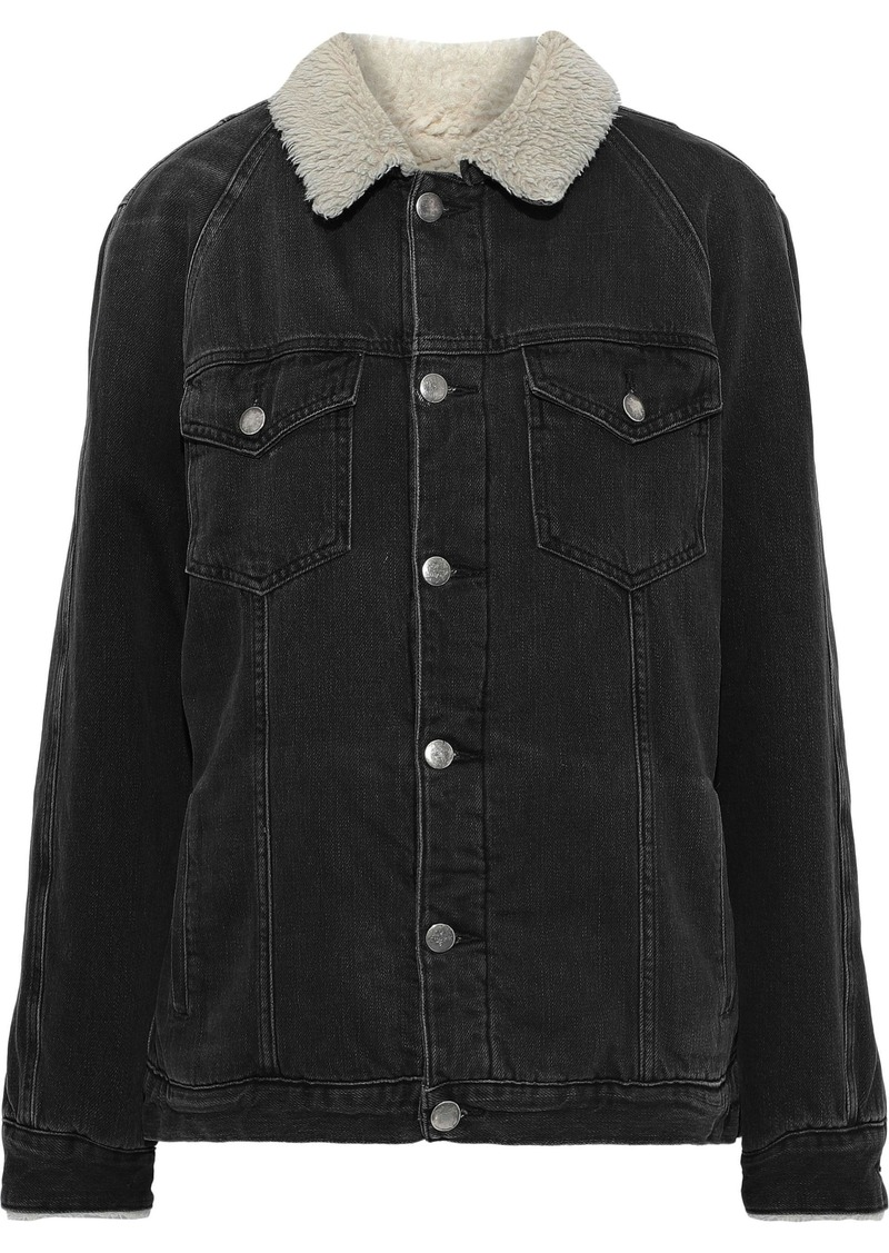 Frame Woman Le Sherpa Faux Shearling-lined Denim Jacket Anthracite