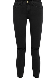 Frame Woman Le Skinny De Jeanne Cropped Distressed High-rise Skinny Jeans Black