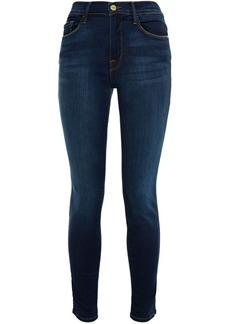 Frame Woman Le Skinny De Jeanne Cropped Mid-rise Skinny Jeans Dark Denim