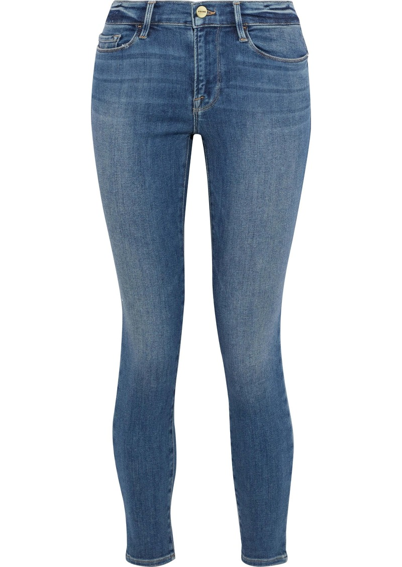 Frame Woman Le Skinny De Jeanne Distressed Low-rise Skinny Jeans Mid Denim