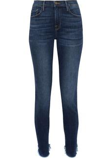 Frame Woman Le Skinny De Jeanne Distressed Mid-rise Skinny Jeans Dark Denim